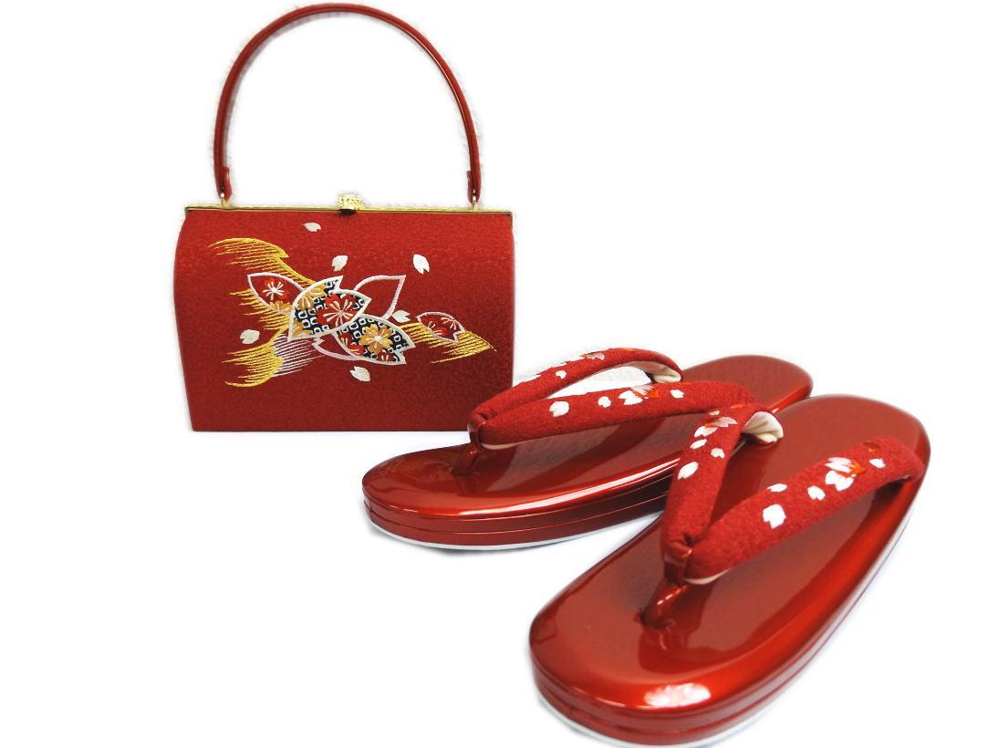 ちりめん刺繍草履バッグセット角丸型赤色地桜花びら 大きいサイズ4L=27cm 振袖成人式&卒業式袴・着物に 日本製
