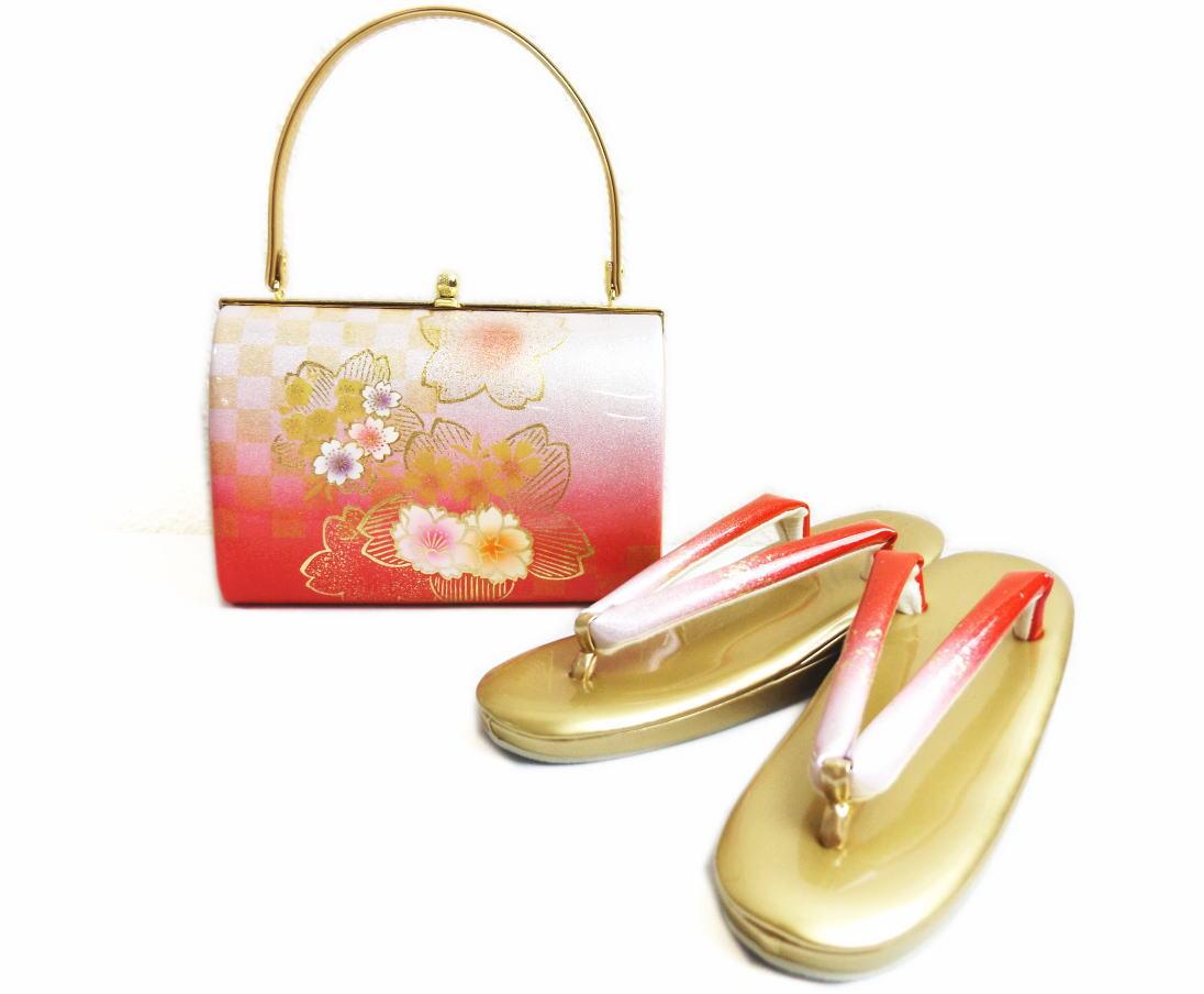 草履バッグセット朱赤銀ぼかし市松桜八重桜大きいサイズLL=25.5cm・3L=26cm 振袖成人式&卒業式袴・着物に