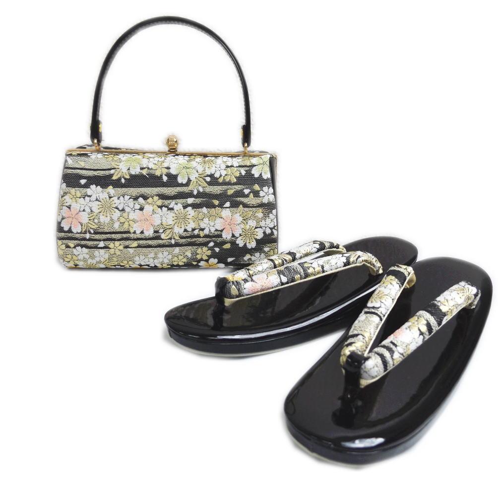 帯地草履バッグセット黒色地金ライン桜フリー=24.5cm 振袖成人式&卒業式袴・着物に