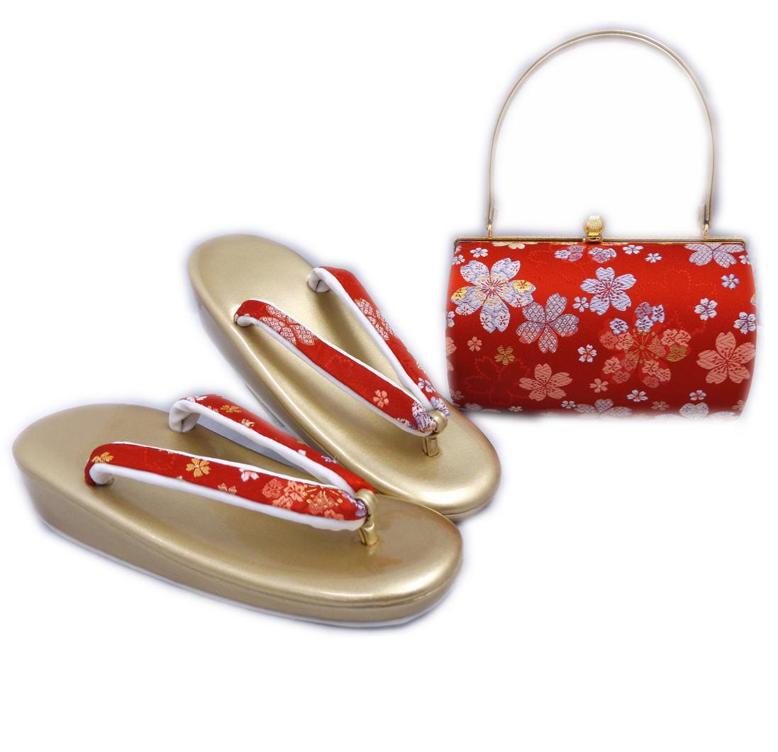 草履バッグセット 帯地 フリー 24cm 振袖 成人式 卒業式 袴 訪問着 着物 横丸型朱赤色地桜さくら