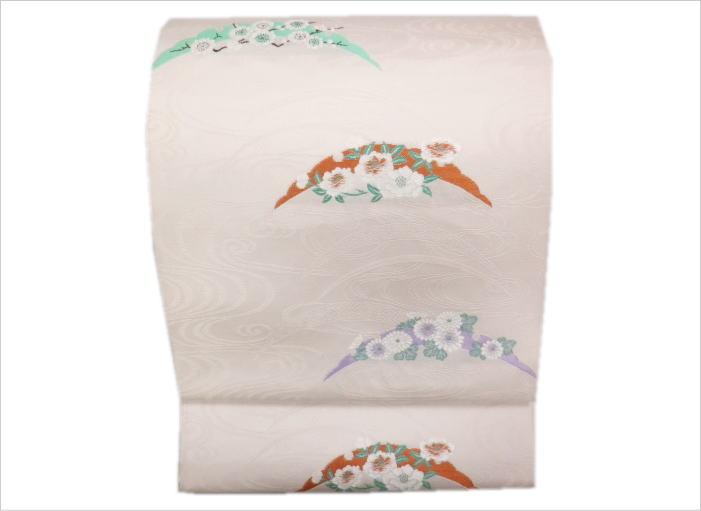 名古屋帯 お仕立て上がり 正絹 西陣織 日本製 薄紫ピンク地雪輪古典花 小紋 紬 洗える着物 女性用 レディース