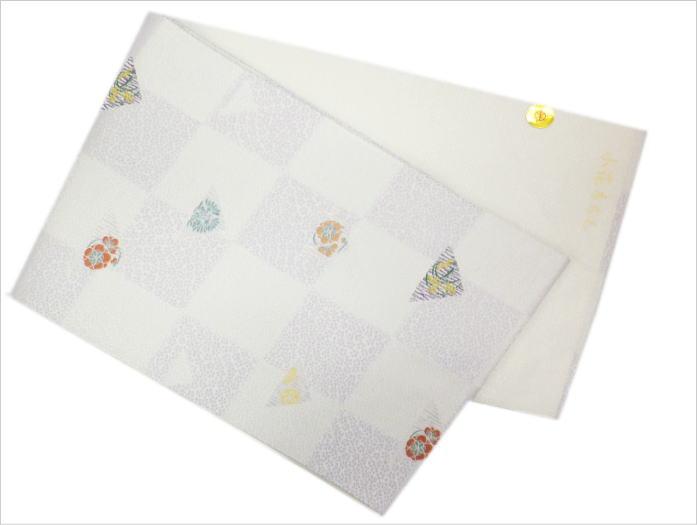 小紋・紬&洗える着物に お仕立上がり正絹名古屋帯薄紫地市松古典