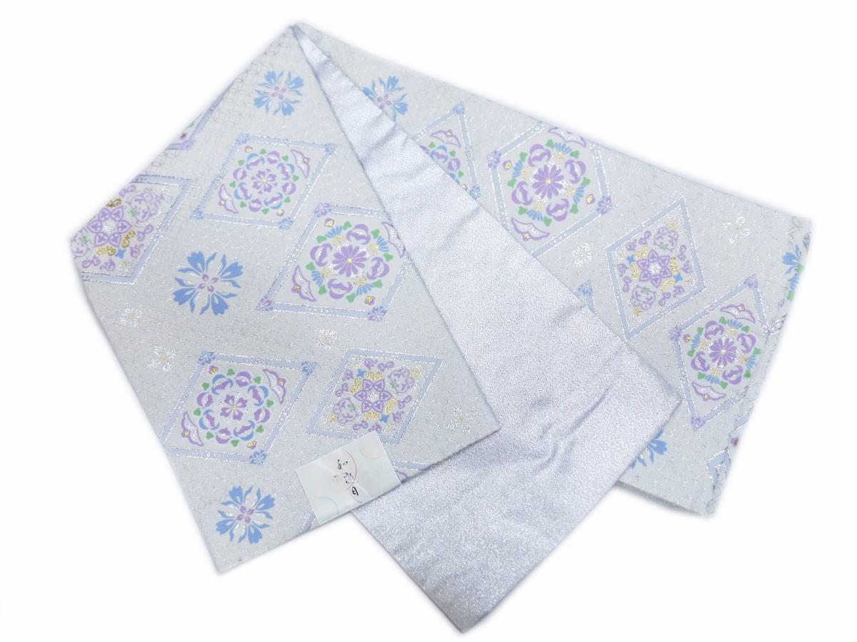 お仕立上がり洗える全通袋帯銀白色七宝地菱正倉院紋様 訪問着&色無地・留袖結婚式・振袖成人式に