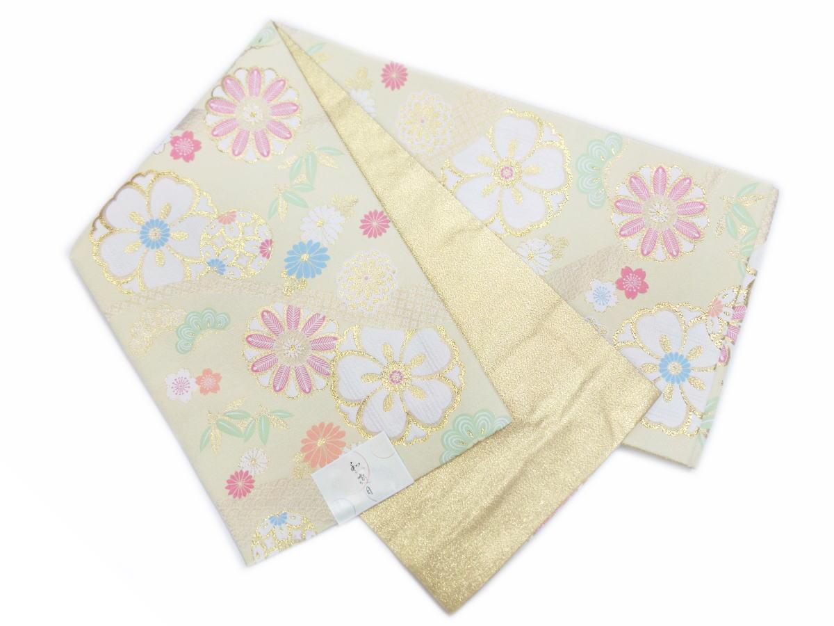 お仕立上がり洗える全通袋帯薄金色地古典花紋様 訪問着&色無地・留袖結婚式・振袖成人式に