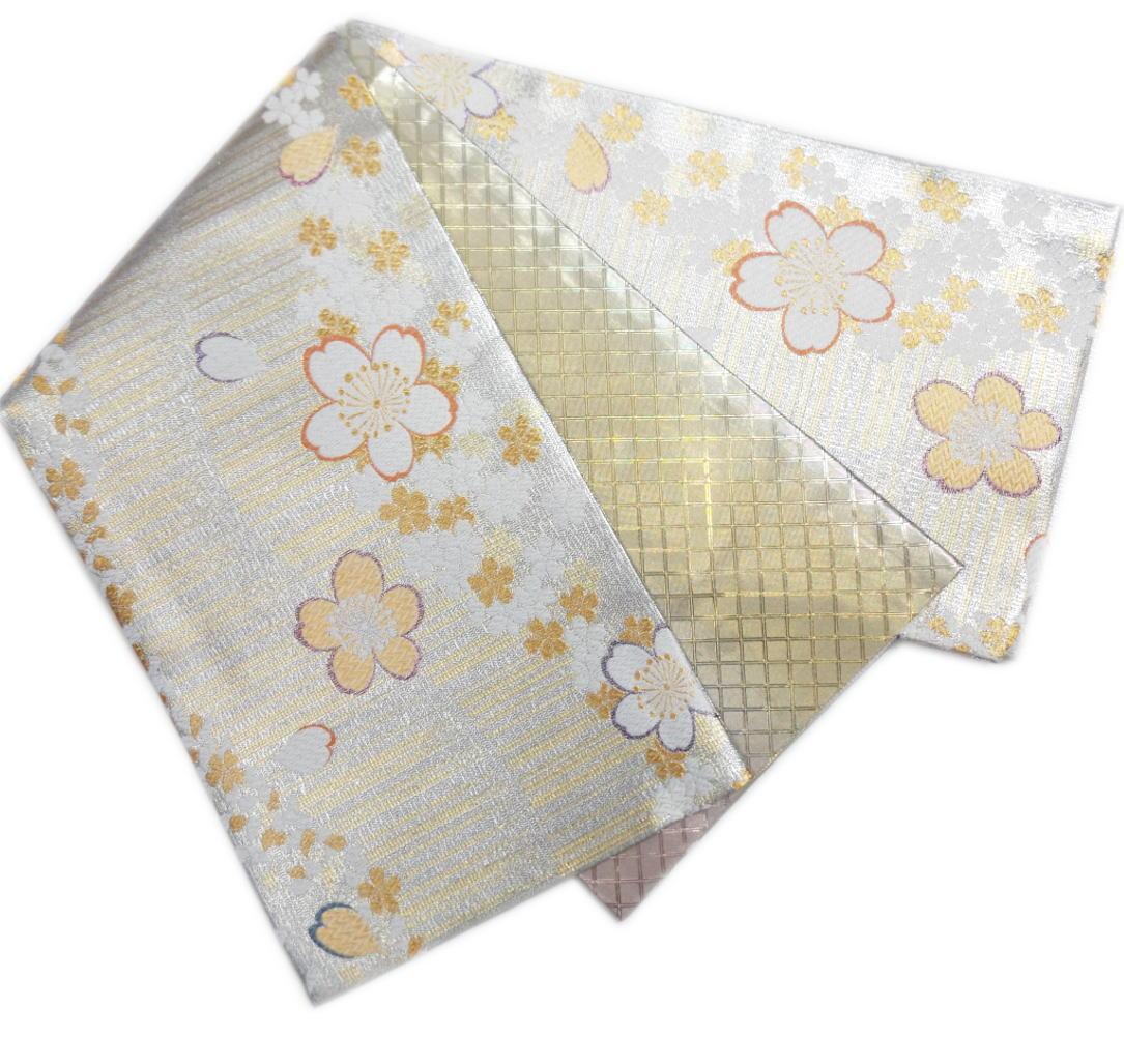 袋帯 正絹 お仕立上がり 出来上がり 振袖 成人式 着物 六通柄 西陣織 銀色地金ライン桜さくら