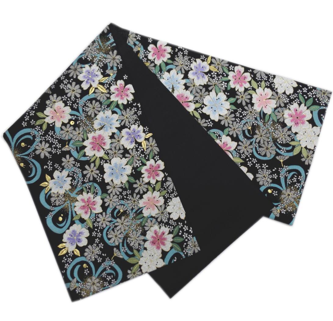 袋帯 正絹 お仕立上がり 出来上がり 振袖 成人式 着物 六通柄 西陣織 黒色地ラメ桜水色さくら