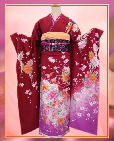 成人式&結婚式に セミオーダー正絹振袖ぜ~んぶ揃った豪華フルセットanan赤色地可憐花
