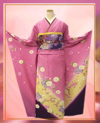 成人式&結婚式に セミオーダー正絹振袖ぜ~んぶ揃った豪華フルセットピンク地紫黄ぼかし桜