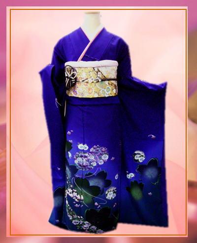 成人式&結婚式に セミオーダー正絹振袖ぜ~んぶ揃った豪華フルセット深青地桜花鼓
