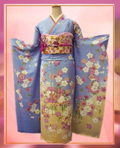 成人式&結婚式に セミオーダー正絹振袖ぜ~んぶ揃った豪華フルセット水色地枝垂桜