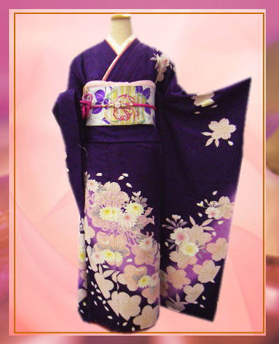 セミオーダー正絹振袖ぜ~んぶ揃った豪華フルセット濃紫地桜菊 成人式&結婚式に