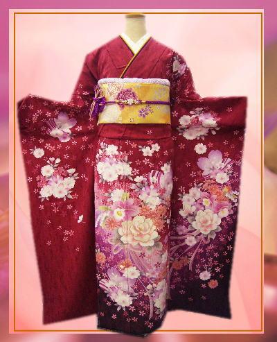 成人式&結婚式に セミオーダーブランド正絹振袖ぜ~んぶ揃った豪華フルセットAdam&Eve赤色地花花ブーケ