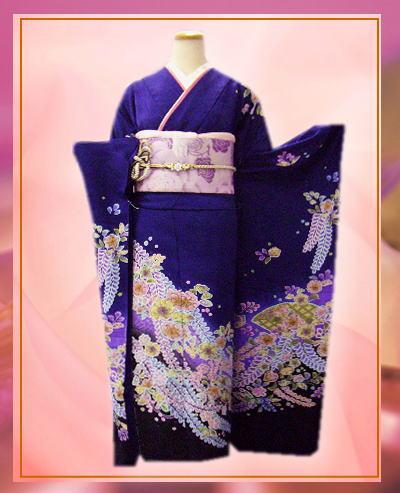 成人式&結婚式に セミオーダー正絹振袖ぜ~んぶ揃った豪華フルセット紺地パステル辻が花