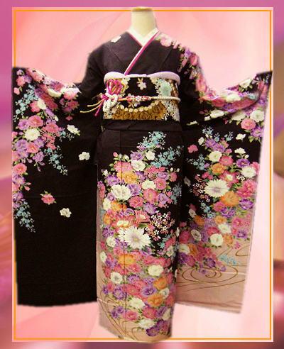 成人式&結婚式に セミオーダー正絹振袖ぜ~んぶ揃った豪華フルセットPATTiPATT濃茶地彩ブーケフラワー
