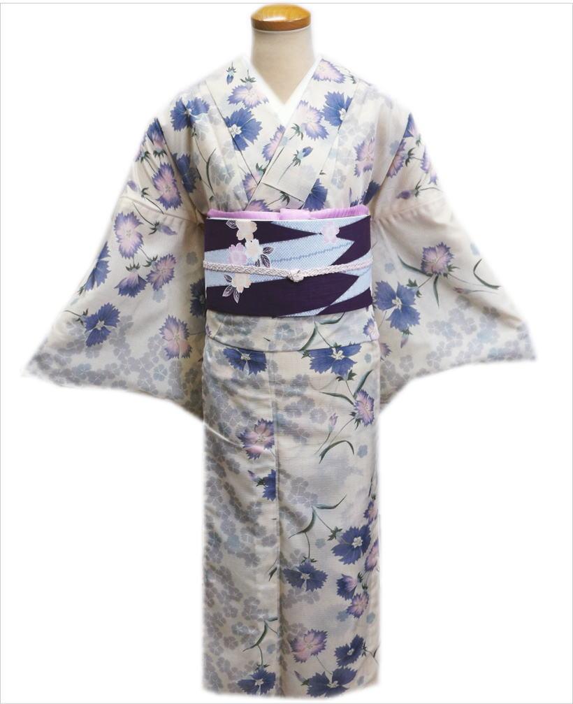 洗える絽(夏物)着物と紗軽装帯(付け帯)セットオフホワイト地撫子M・L