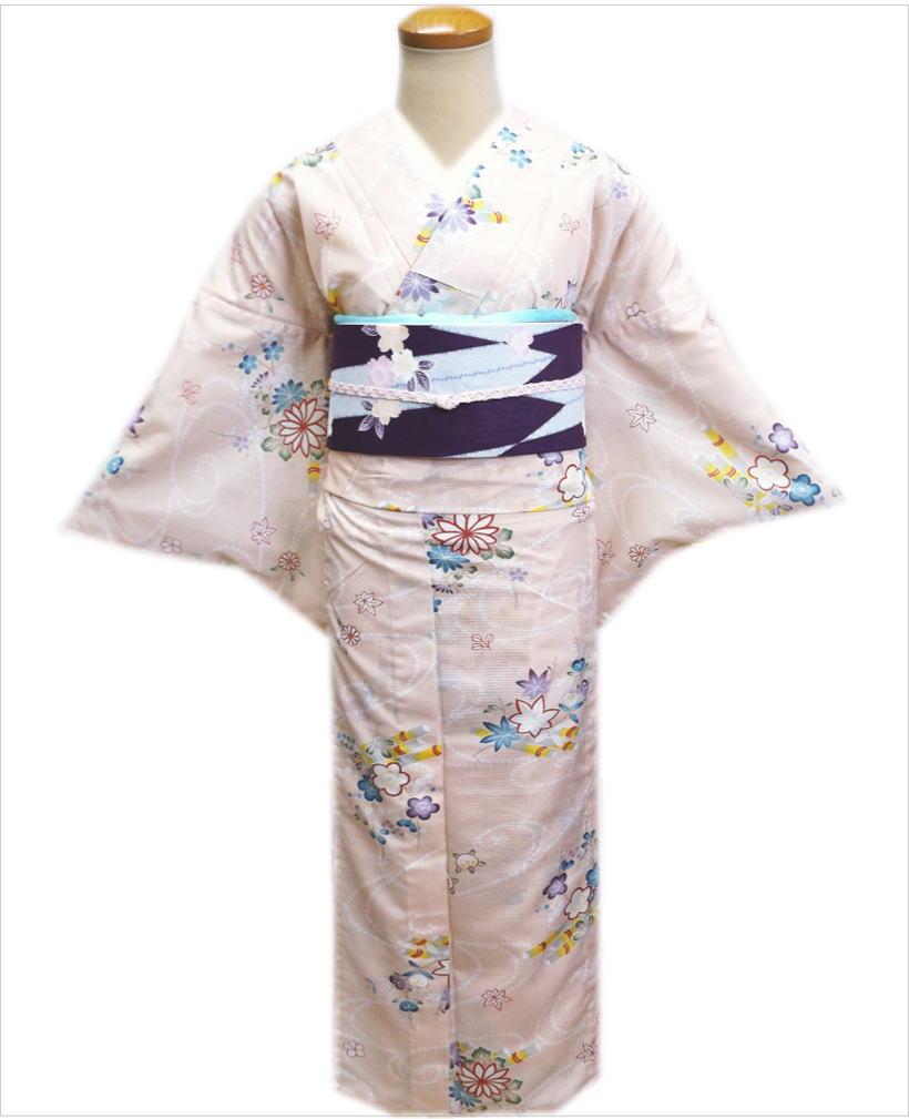 この季節だけの大人のオシャレ。お出かけに最適。上品&小粋な絽小紋と簡単紗(夏)軽装帯をお得セットに。 洗える絽(夏物)着物と紗軽装帯(付け帯)セット薄ピンク地古典花流水M・L