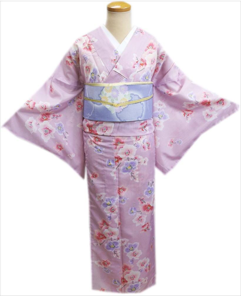 洗える絽(夏物)着物と紗軽装帯(付け帯)セット紫ピンク色地胡蝶蘭M・L