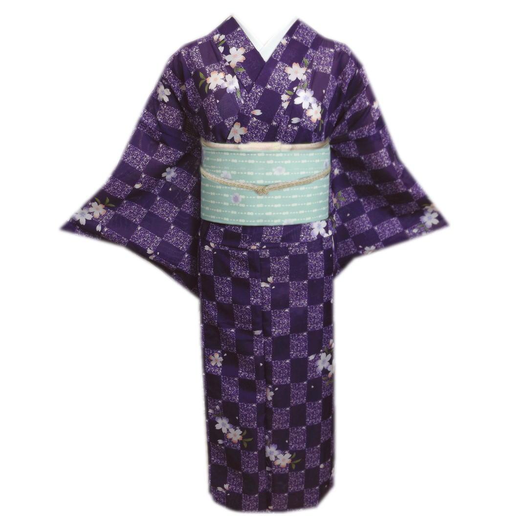 絽軽装帯 付け帯 洗える セット 紫色たたき市松地桜 夏用 絽 M と L 小紋 夏物 着物
