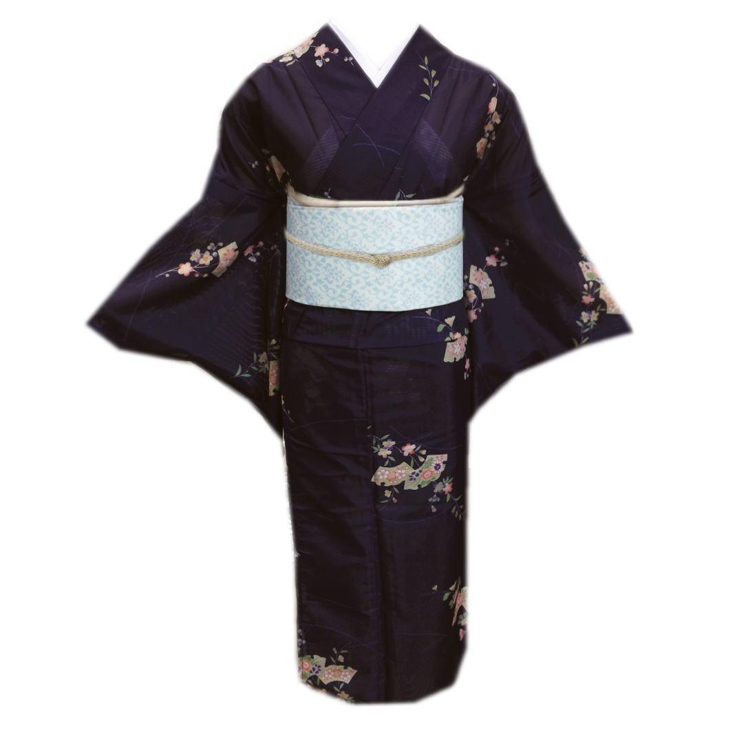 洗える 絽軽装帯 セット M と 夏用 絽 紺濃紫色地雪輪扇古典花 着物 夏物 小紋 L 付け帯