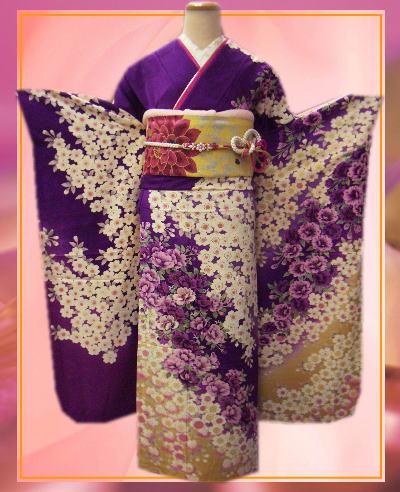 お仕立上がりブランド正絹振袖全て揃った豪華フルセット紫色地桜枝垂桜 成人式&結婚式に