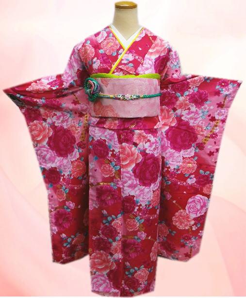 成人式&結婚式に お仕立上がり振袖ぜ~んぶ揃った豪華フルセットピンク地大輪薔薇八重桜