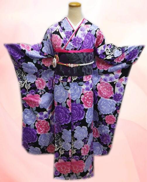成人式&結婚式に お仕立上がり振袖ぜ~んぶ揃った豪華フルセット黒地八重桜薔薇蝶