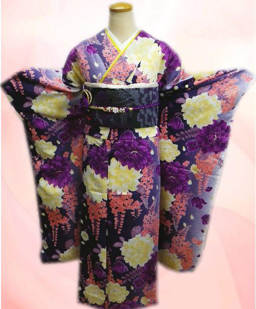 成人式&結婚式に お仕立上がり振袖ぜ~んぶ揃った豪華フルセット濃紫地大輪可憐花藤