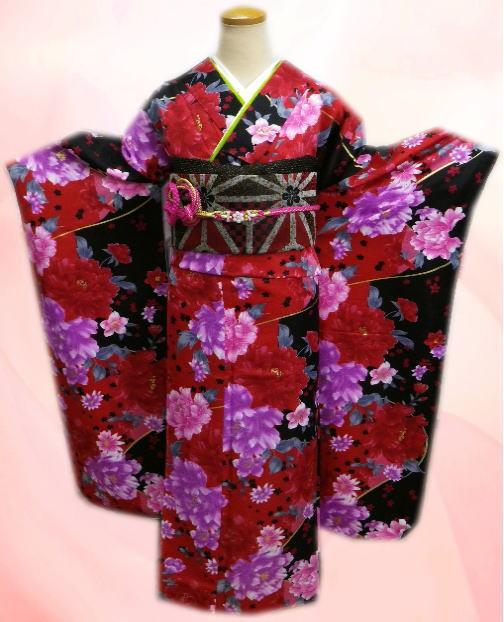成人式&結婚式に お仕立上がり振袖ぜ~んぶ揃った豪華フルセット赤黒地大輪牡丹桜