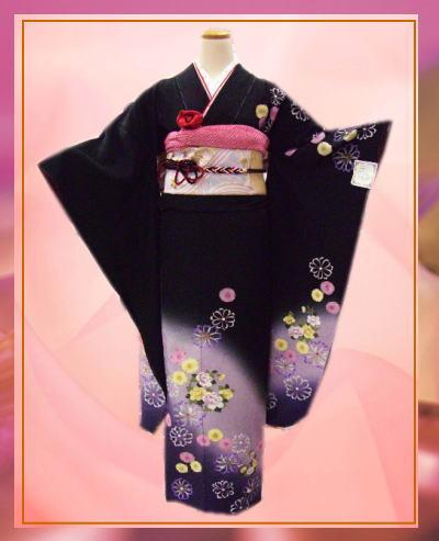 お仕立上がり正絹振袖全て揃った豪華フルセット黒色地薄紫ボカシ花花 成人式&結婚式に