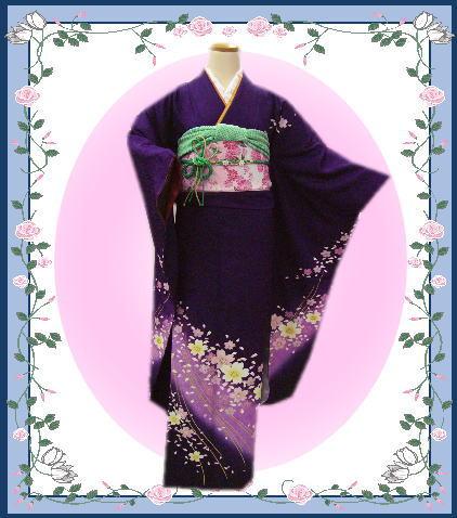 お仕立上がり正絹振袖全て揃った豪華フルセット紫色地藤紫ボカシ桜 成人式&結婚式に