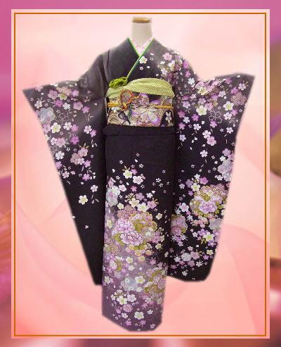 お仕立上がりブランド正絹振袖全て揃った豪華フルセット墨黒色地牡丹桜 成人式&結婚式に