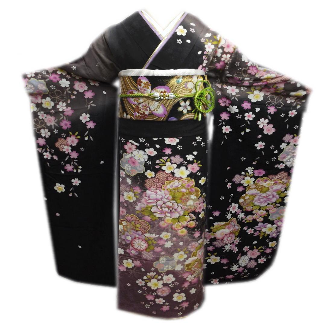 振袖 お仕立上がり 出来上がり 正絹 ブランド フルセット 墨黒色薄紫ぼかし地牡丹桜 成人式 結婚式 袋帯 長襦袢 草履バッグ ショール 着付け小物 お買上