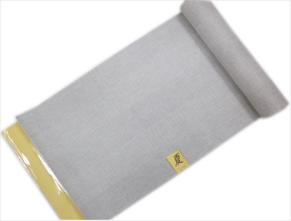 粋なメンズ男物男性綿麻浴衣(ゆかた)反物(未仕立て)薄グレー色地絣亀甲
