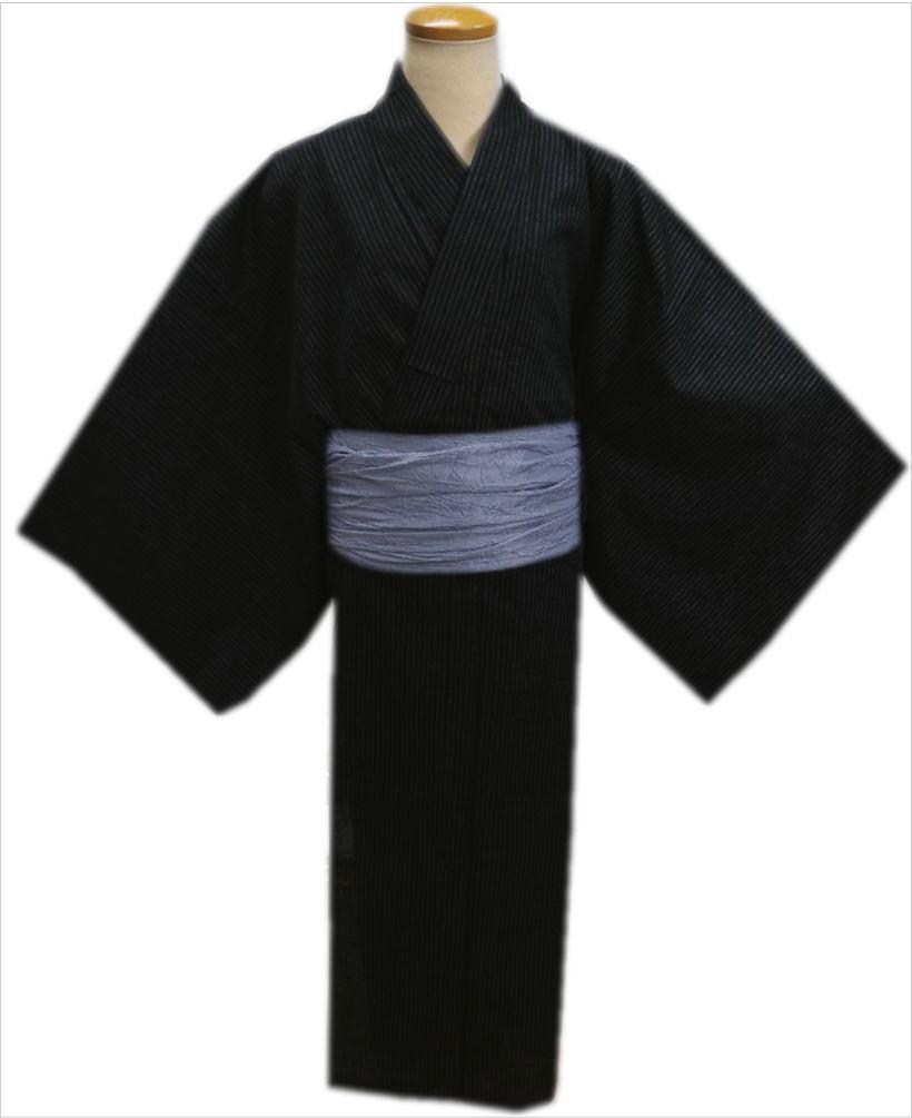 粋なメンズ男物男性綿麻浴衣と兵児帯セット黒色地ライン大きいサイズ4L・5L