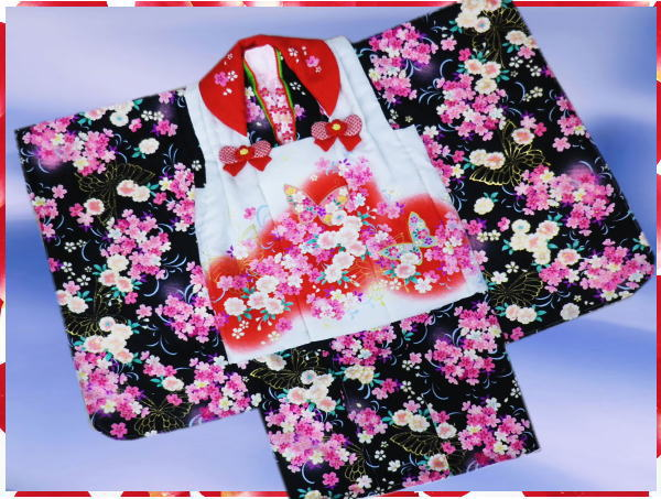 七五三着物3歳女の子被布セット(9点)黒&白赤八重桜蝶