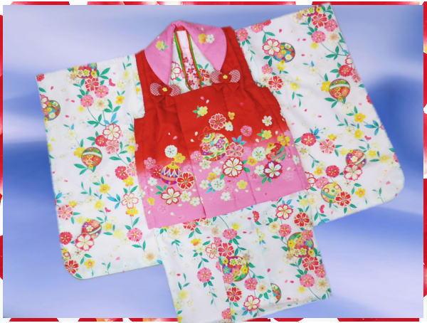 七五三着物3歳女の子被布セット(9点)白&赤ピンク枝垂桜鈴