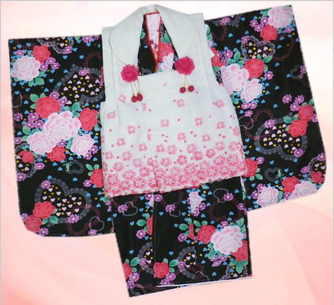 七五三着物3歳女の子被布セット(9点)黒地薔薇ハート&白地小薔薇