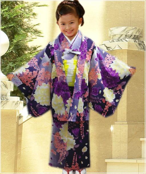 お正月&七五三&各記念日に 子供キッズ女の子お仕立て上がり着物4点セット濃紫地大輪可憐花藤S・M・L