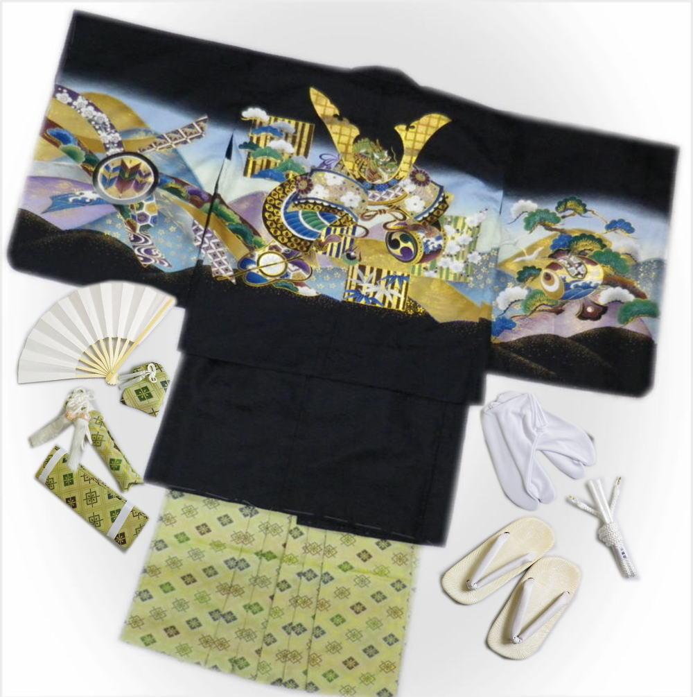 七五三着物5歳男の子男児羽織袴セット(11点)黒地兜龍打出小槌