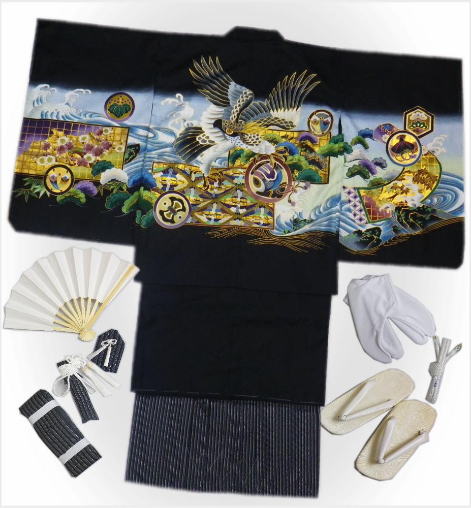 七五三着物5歳男の子男児羽織袴セット(11点)黒地鷹波紋
