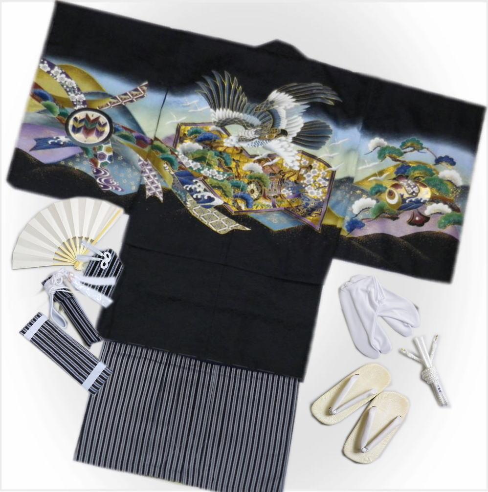 七五三着物5歳男の子男児羽織袴セット(11点)黒地鷹金屏風御所車