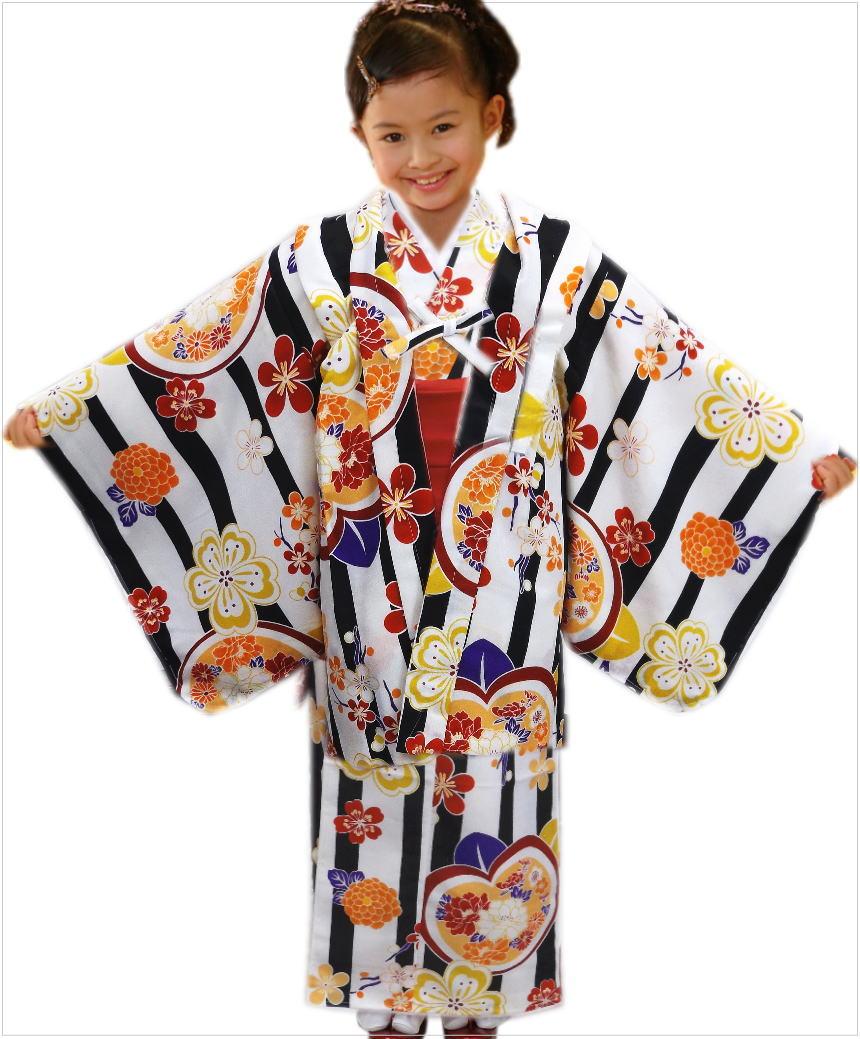 子供用キッズジュニア女の子お仕立て上がり洗える着物5点セット白色地黒ライン桜橘古典花 5~6歳・7~8歳・9~10歳 お正月&七五三&各記念日に