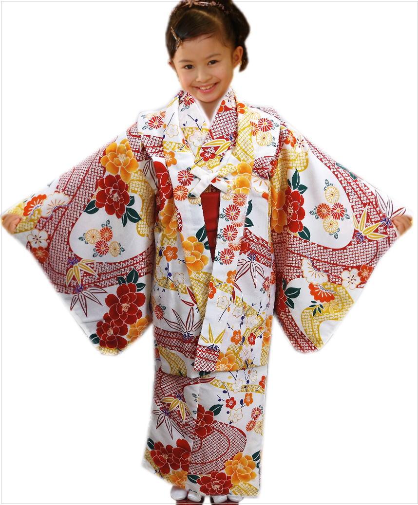 子供用キッズジュニア女の子お仕立て上がり洗える着物5点セット白色地赤色ひった流水牡丹 5~6歳・7~8歳・9~10歳 お正月&七五三&各記念日に