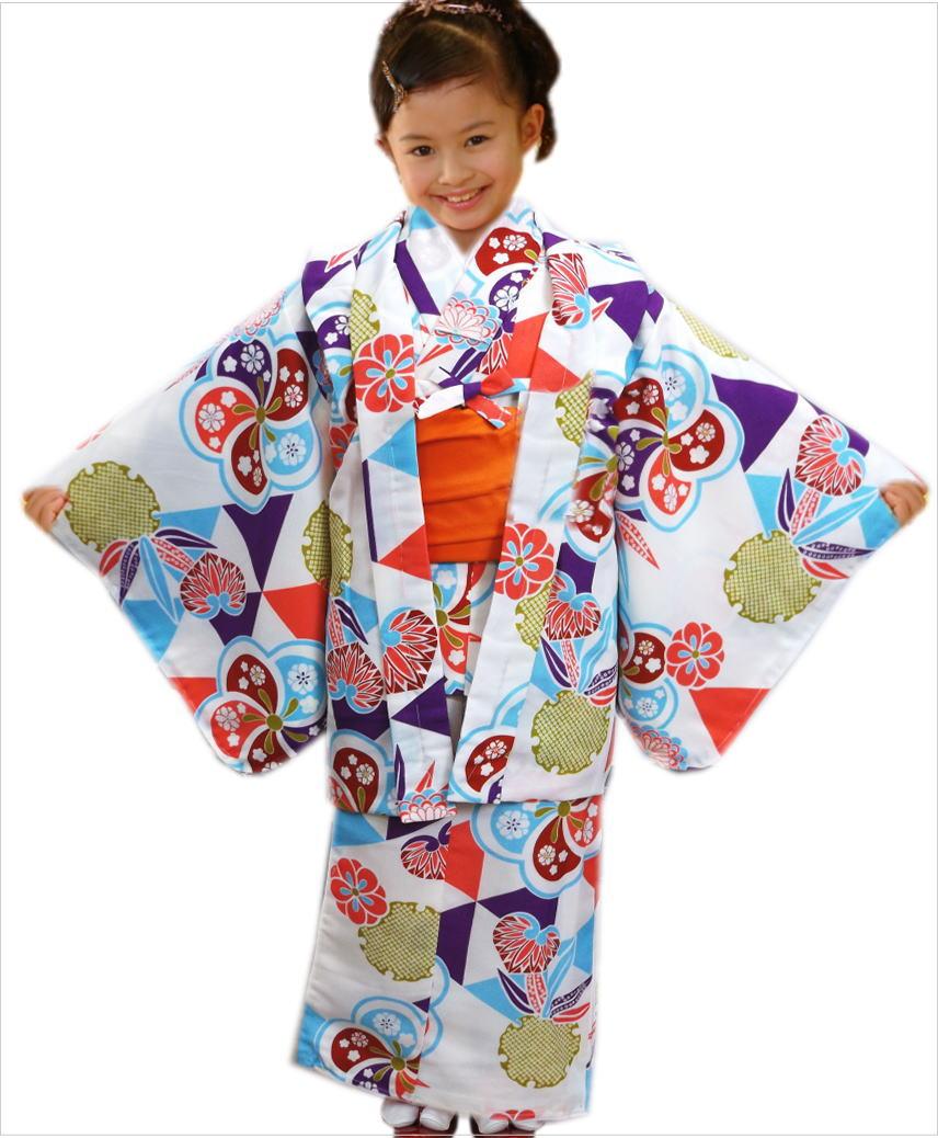 子供用キッズジュニア女の子お仕立て上がり洗える着物5点セット白色地梅ウロコ雪輪 5~6歳・7~8歳・9~10歳 お正月&七五三&各記念日に