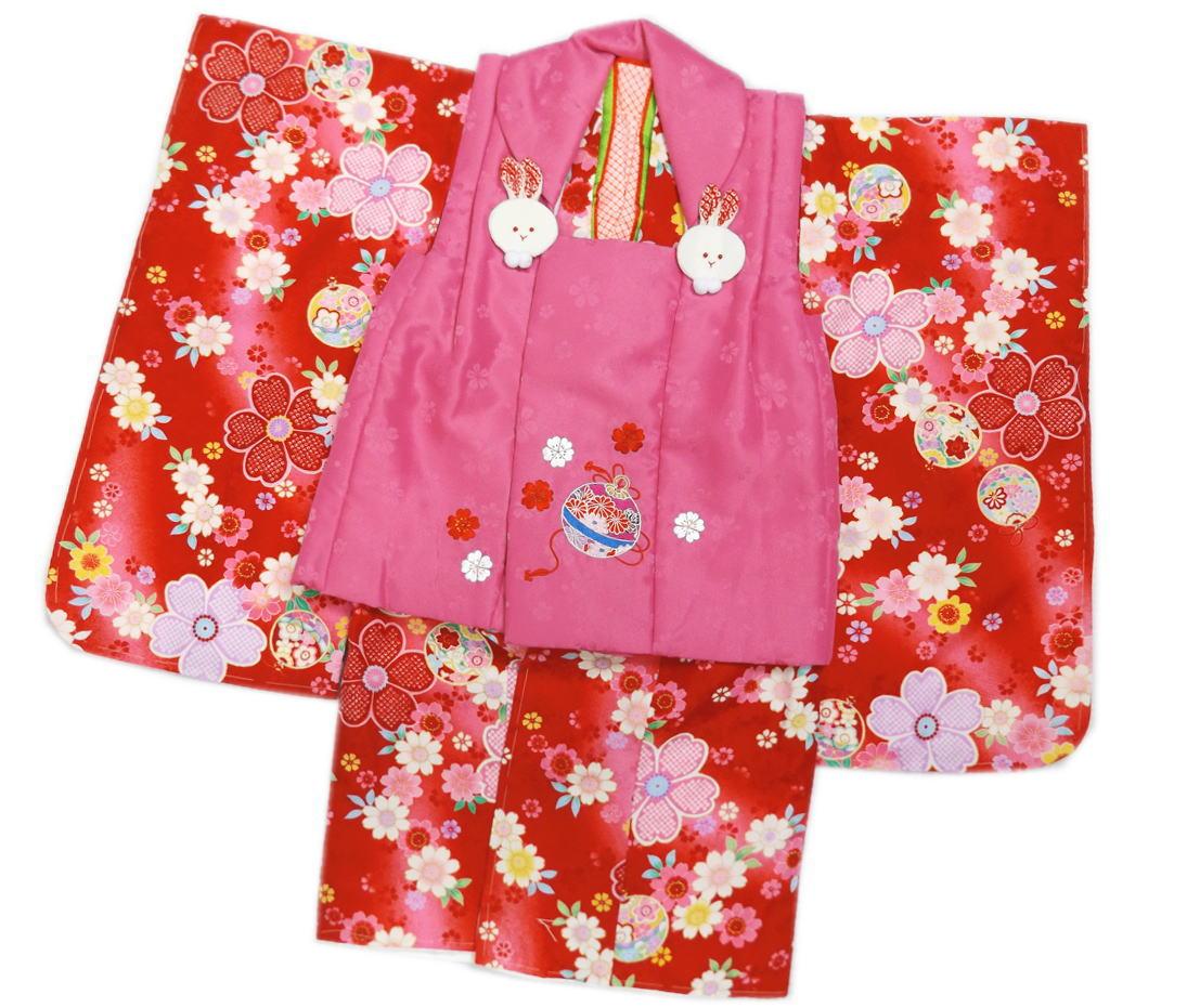 七五三着物3歳被布セット(8点)子供用キッズ女の子 赤色地鈴桜&ピンク地刺繍鈴桜被布