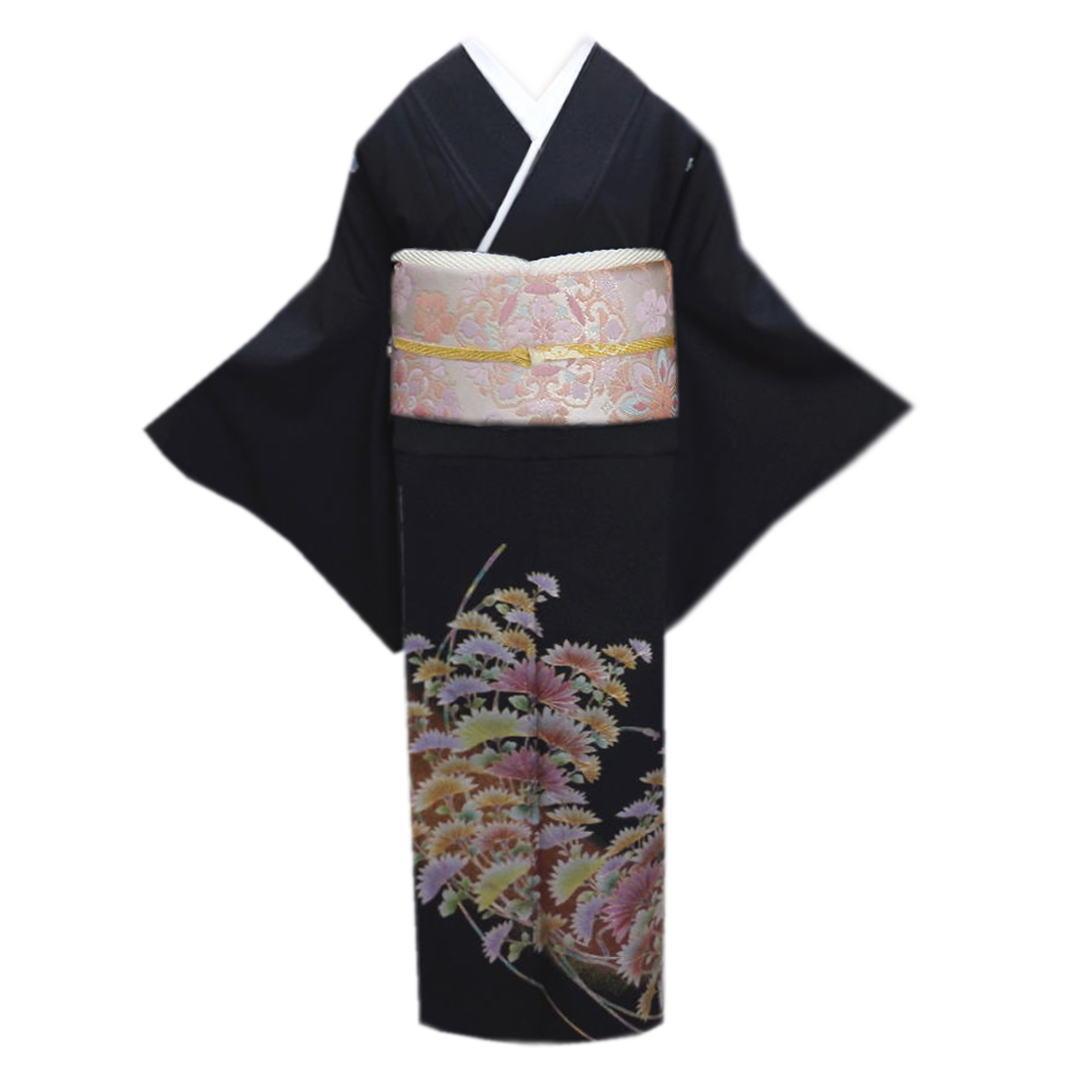 黒留袖 お仕立上がり 洗える 袋帯 長襦袢 帯締め 帯揚げ 扇子 6点セット 金彩古典菊 結婚式 着物