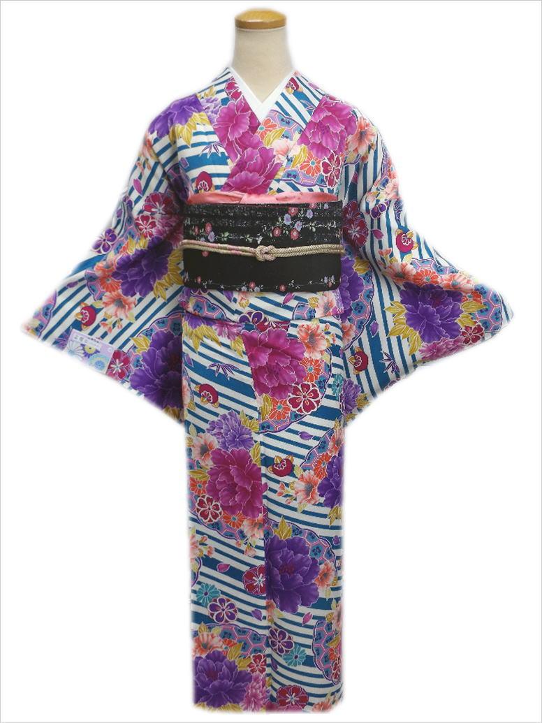 洗える袷着物(小紋)と軽装帯(付け帯)セット総柄水色ストライプ地牡丹古典花L