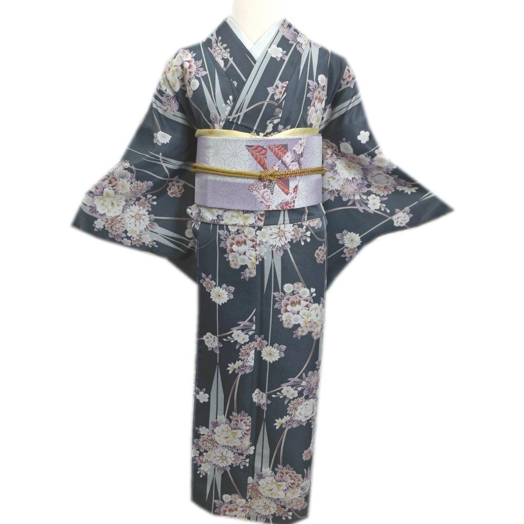 着物 洗える 袷 小紋 「ヒロミチ ナカノ」 と 軽装帯 付け帯 セット 濃グレー緑地古典花紐矢絣 L