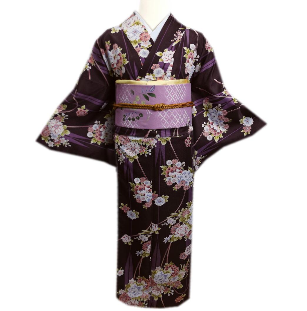 着物 洗える 袷 小紋 「ヒロミチ ナカノ」 と 軽装帯 付け帯 セット 濃紫地古典花紐矢絣 L