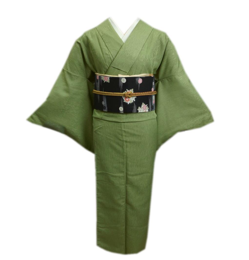 色無地 着物 洗える 袷 と 軽装帯 付け帯 2点セット 渋黄緑色 M L きもの